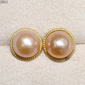 Her Shop accessories EB 21 / 9-10mm Natural Color Freshwater Pearl Fashion Jewelry 9-10mm Edison Pearl Earrings