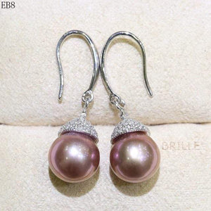 Her Shop accessories EB 8 / 9-10mm Natural Color Freshwater Pearl Fashion Jewelry 9-10mm Edison Pearl Earrings