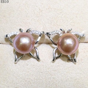 Her Shop accessories EB 10 / 9-10mm Natural Color Freshwater Pearl Fashion Jewelry 9-10mm Edison Pearl Earrings