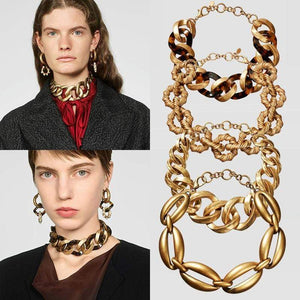 Her Shop accessories New Metal Choker Vintage Maxi Embossed Link Necklace Christmas Chic Collar Jewelry