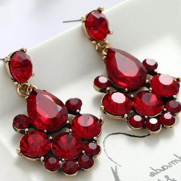 Her Shop accessories New Red Glass Gray Rhinestone Dangle Crystal Earring