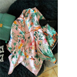 Her Shop accessories Spring Floral Large Square 100% Silk Scarf Shawl