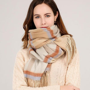 Her Shop accessories Color 4 / 180x70cm Winter Plaid 100% Lamb Wool Scarf