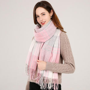 Her Shop accessories Color 3 / 180x70cm Winter Plaid 100% Lamb Wool Scarf