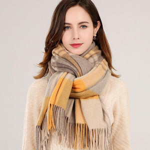 Her Shop accessories Color 1 / 180x70cm Winter Plaid 100% Lamb Wool Scarf