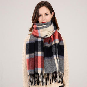 Her Shop accessories Color 5 / 180x70cm Winter Plaid 100% Lamb Wool Scarf