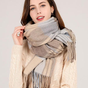 Her Shop accessories Color 2 / 180x70cm Winter Plaid 100% Lamb Wool Scarf