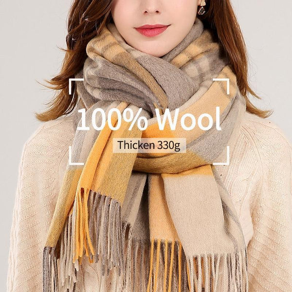 Her Shop accessories Winter Plaid 100% Lamb Wool Scarf