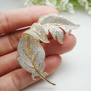 Her Shop accessories Woman's Clear Zircon Crystal Leaf Gold Tone Brooch