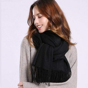 Her Shop accessories Black / 180x70cm Women 100% Real Wool Scarf Winter Scarves