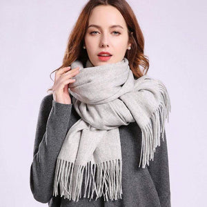 Her Shop accessories Light Grey / 180x70cm Women 100% Real Wool Scarf Winter Scarves