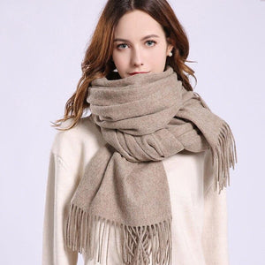 Her Shop accessories Brown Coffee / 180x70cm Women 100% Real Wool Scarf Winter Scarves