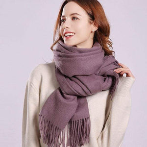 Her Shop accessories Grape / 180x70cm Women 100% Real Wool Scarf Winter Scarves