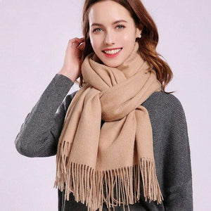 Her Shop accessories Camel / 180x70cm Women 100% Real Wool Scarf Winter Scarves