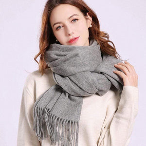 Her Shop accessories Grey / 180x70cm Women 100% Real Wool Scarf Winter Scarves