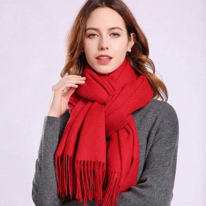 Her Shop accessories Red / 180x70cm Women 100% Real Wool Scarf Winter Scarves