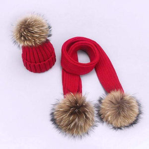 Her Shop accessories M / Adult Women and Kids Winter Hat and Scarf With Real Fur Pompom