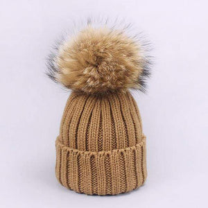 Her Shop accessories D / Adult Women and Kids Winter Hat and Scarf With Real Fur Pompom