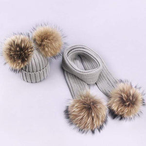 Her Shop accessories X / Adult Women and Kids Winter Hat and Scarf With Real Fur Pompom