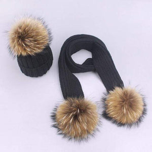 Her Shop accessories J / Adult Women and Kids Winter Hat and Scarf With Real Fur Pompom