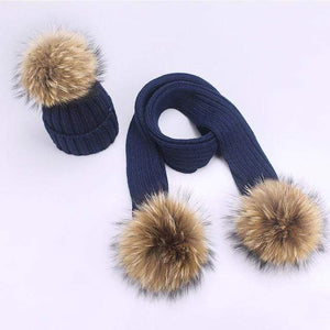 Her Shop accessories N / Adult Women and Kids Winter Hat and Scarf With Real Fur Pompom