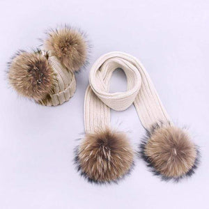 Her Shop accessories T / Adult Women and Kids Winter Hat and Scarf With Real Fur Pompom