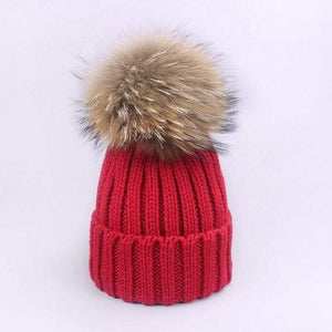 Her Shop accessories A / Adult Women and Kids Winter Hat and Scarf With Real Fur Pompom