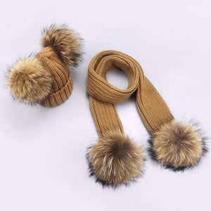 Her Shop accessories W / Adult Women and Kids Winter Hat and Scarf With Real Fur Pompom