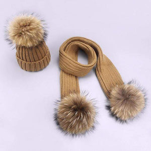 Her Shop accessories I / Adult Women and Kids Winter Hat and Scarf With Real Fur Pompom
