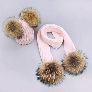 Her Shop accessories S / Adult Women and Kids Winter Hat and Scarf With Real Fur Pompom