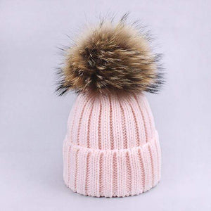 Her Shop accessories C / Adult Women and Kids Winter Hat and Scarf With Real Fur Pompom