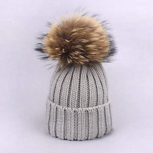 Her Shop accessories G / Adult Women and Kids Winter Hat and Scarf With Real Fur Pompom