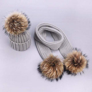 Her Shop accessories L / Adult Women and Kids Winter Hat and Scarf With Real Fur Pompom