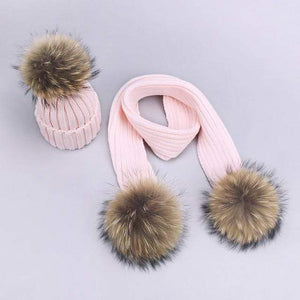 Her Shop accessories O / Adult Women and Kids Winter Hat and Scarf With Real Fur Pompom