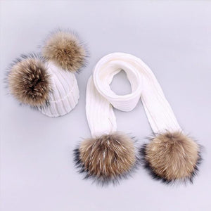 Her Shop accessories P / Adult Women and Kids Winter Hat and Scarf With Real Fur Pompom