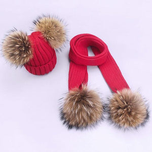 Her Shop accessories Q / Adult Women and Kids Winter Hat and Scarf With Real Fur Pompom