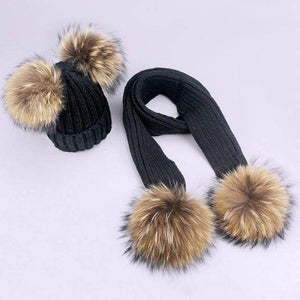 Her Shop accessories R / Adult Women and Kids Winter Hat and Scarf With Real Fur Pompom