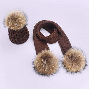 Her Shop accessories H / Adult Women and Kids Winter Hat and Scarf With Real Fur Pompom