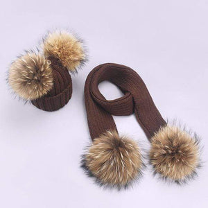 Her Shop accessories U / Adult Women and Kids Winter Hat and Scarf With Real Fur Pompom