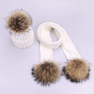 Her Shop accessories K / Adult Women and Kids Winter Hat and Scarf With Real Fur Pompom
