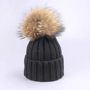 Her Shop accessories B / Adult Women and Kids Winter Hat and Scarf With Real Fur Pompom