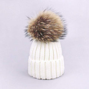 Her Shop accessories F / Adult Women and Kids Winter Hat and Scarf With Real Fur Pompom