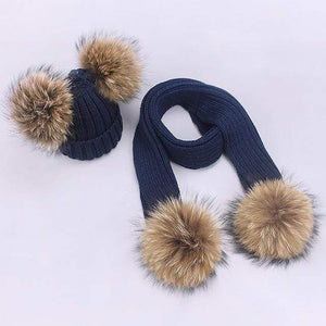 Her Shop accessories V / Adult Women and Kids Winter Hat and Scarf With Real Fur Pompom