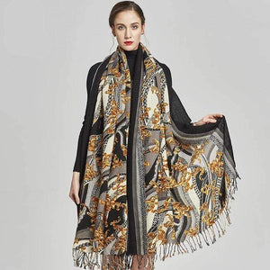 Her Shop accessories Women Winter Fashion Thick Warm Poncho Cashmere Sweater Pashmina Scarves