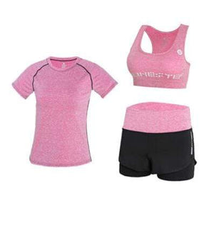 Her Shop activewear 3 piece set 4 / S High waist pants+hooded coat+t shirt+bra+pants women yoga/running  5 pieces set