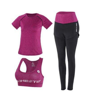 Her Shop activewear 3 piece set 6 / S High waist pants+hooded coat+t shirt+bra+pants women yoga/running  5 pieces set
