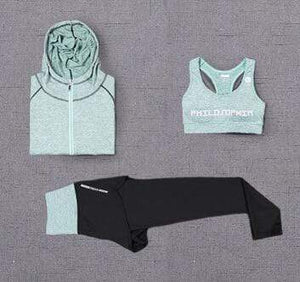 Her Shop activewear 3 piece set a / S High waist pants+hooded coat+t shirt+bra+pants women yoga/running  5 pieces set