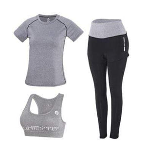 Her Shop activewear High waist pants+hooded coat+t shirt+bra+pants women yoga/running  5 pieces set