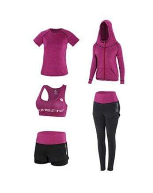 Her Shop activewear b / S High waist pants+hooded coat+t shirt+bra+pants women yoga/running  5 pieces set