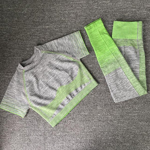 Her Shop activewear short green set 2pcs / S / CHINA Seamless Women Long Sleeve Yoga Set